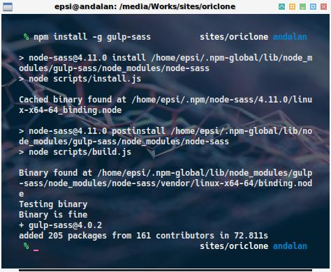 npm: install gulp-sass
