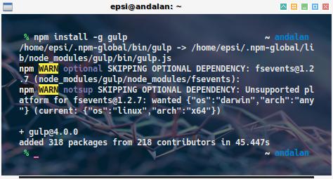 npm: install gulp