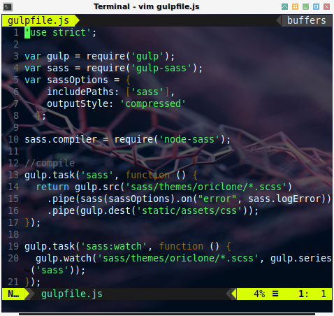 gulp: config gulpfile.js
