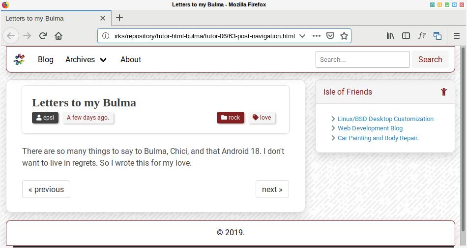 Bulma SASS: Post: Desktop