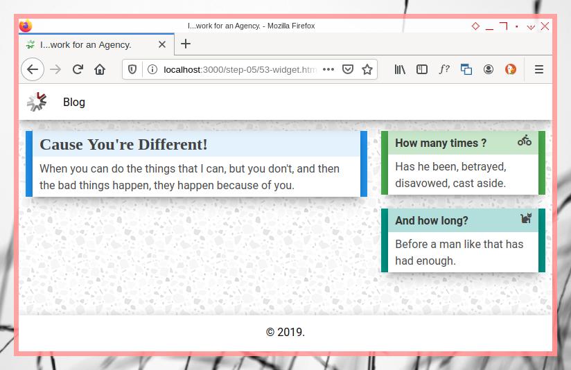 Bootstrap OC: Multicolor Widget in Desktop Screen
