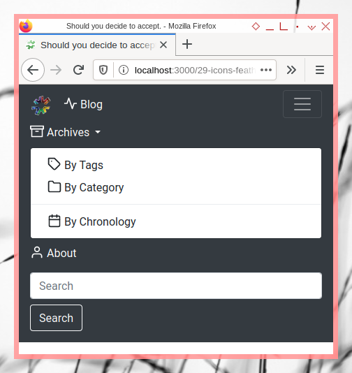 Bootstrap Navigation Bar: Feather Icons in Dropdown Menu