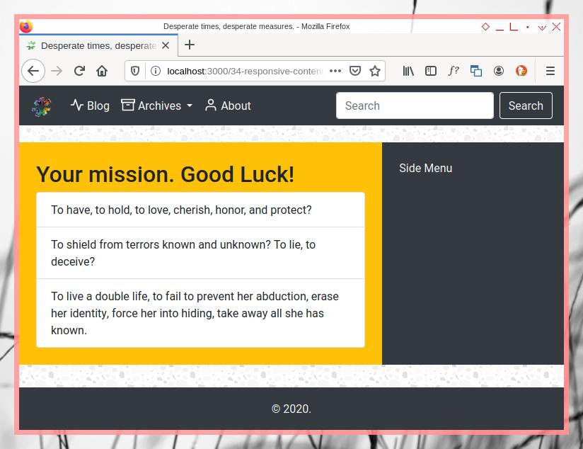 Bootstrap Layout: Desktop Content