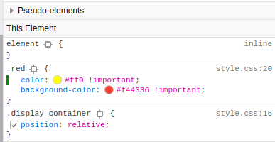 Inspector: Change Color Element