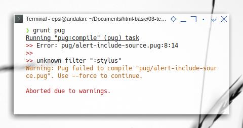 Grunt: Pug Filter Error