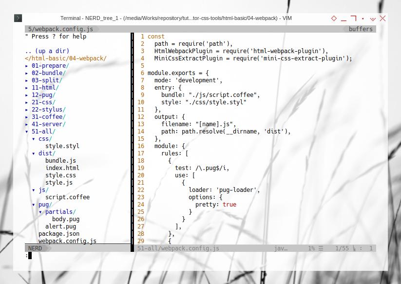 Webpack: Nerdtree configuration
