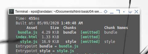 Webpack: Generate HTML: Running Webpack in Terminal