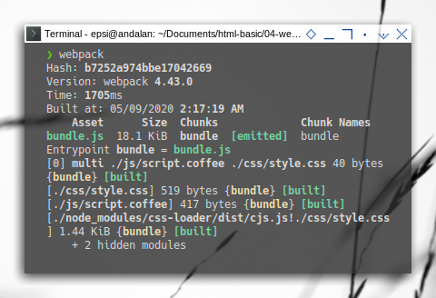 Webpack: Compile Coffeescript: Running Webpack in Terminal