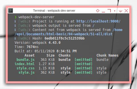 Webpack Dev Server: Running in Terminal