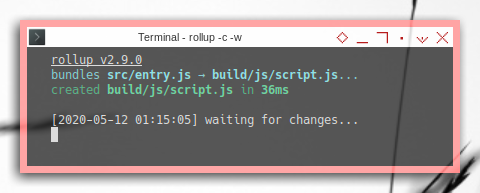 Rollup: Stylesheet: Running Rollpack in Terminal with Watch