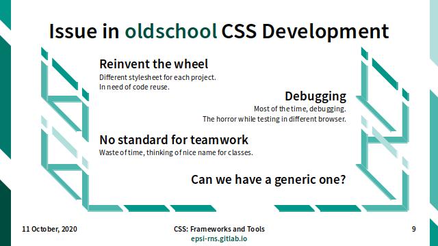 Slide - CSS Frameworks: Oldschool Issue