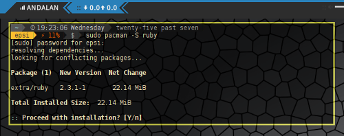 Installing Ruby using Pacman