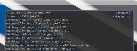 RVM: gem install jekyll