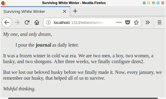 Hugo: Browser Example: Winter