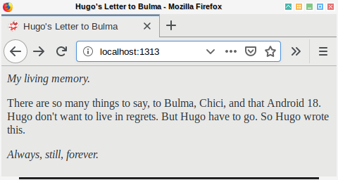 Hugo: Browser Homepage