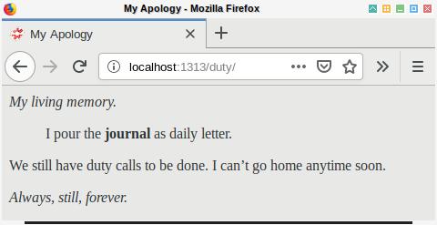 Hugo: Browser Example: Duty
