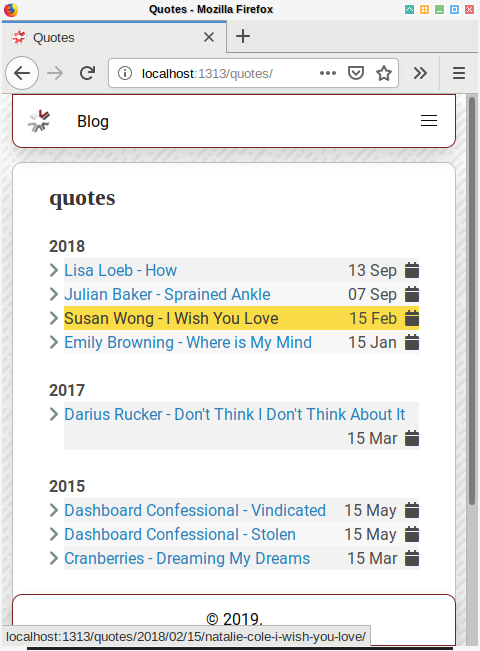 Hugo: List by Year in Browser
