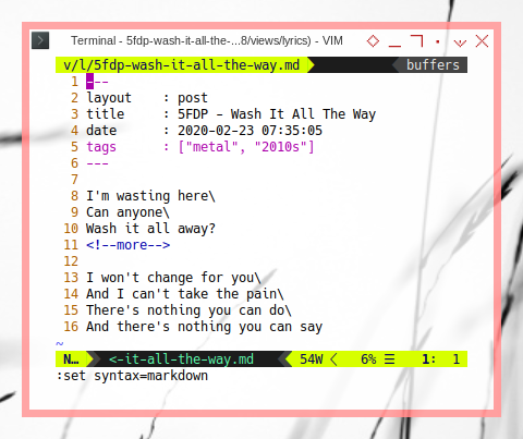 11ty Markdown: Newline in ViM
