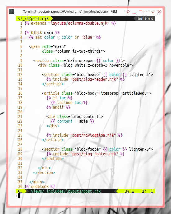 11ty Content: ViM Post Layout