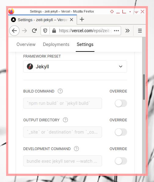 Vercel App: Jekyll on Bitbucket