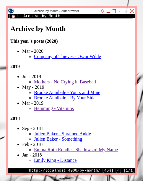 Jekyll: Custom Pages: Archive by Month