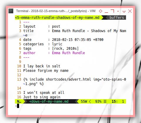 Jekyll Content: Shortcode in ViM