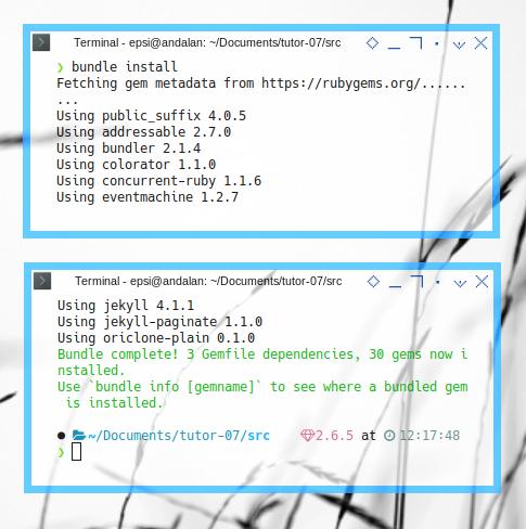 Jekyll: Source Directory: bundle install