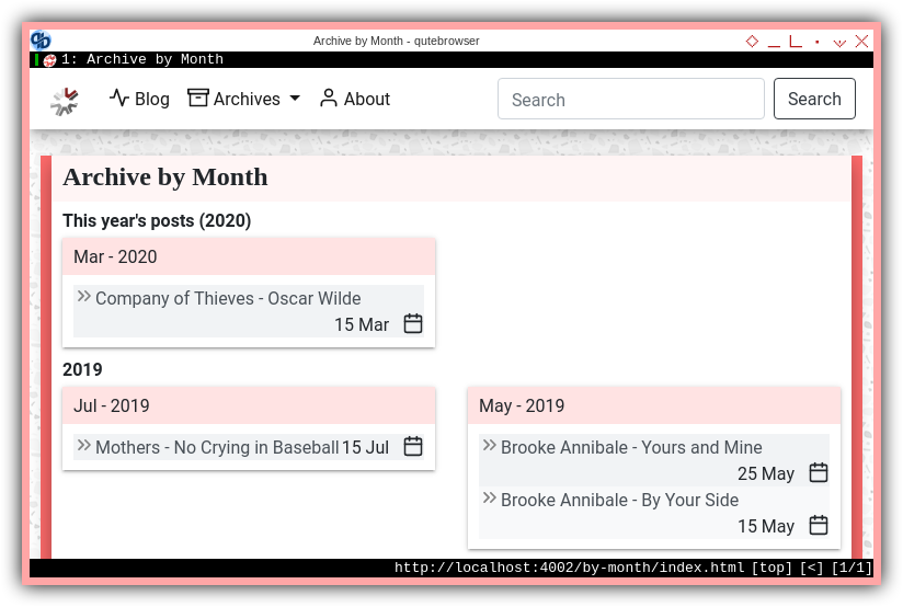 Jekyll: Responsive Content: Multiline Archive by Month