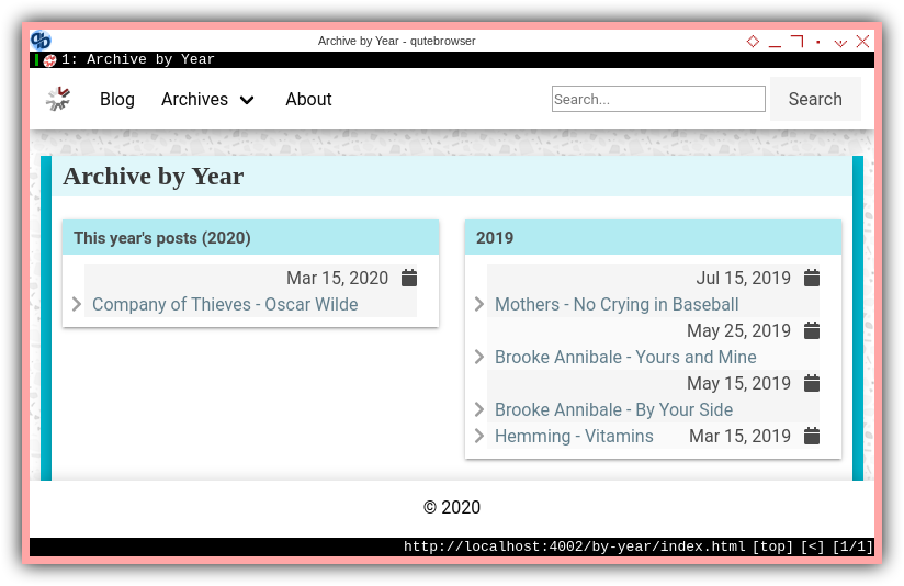 Jekyll: Responsive Content: Multiline Archive by Year