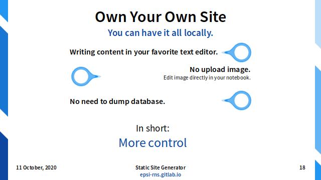 Slide - User Tasks: Own Your Own Site