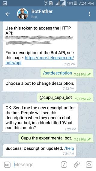 @botfather: Telegram Bot: description