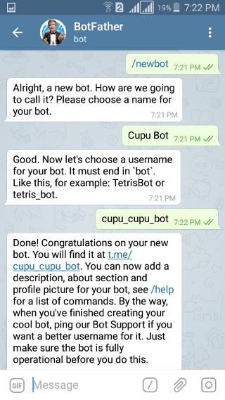 @botfather: Telegram Bot: newbot