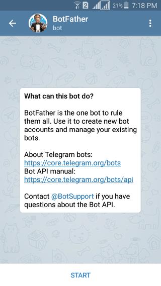 @botfather: Telegram Bot: start