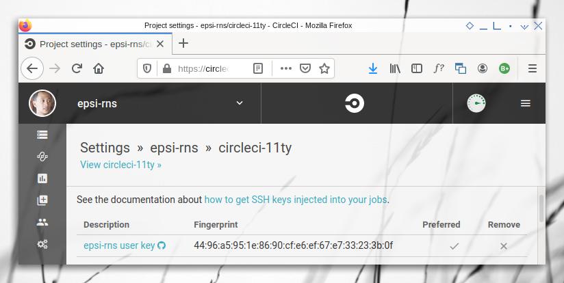 CircleCI: Generated User Key