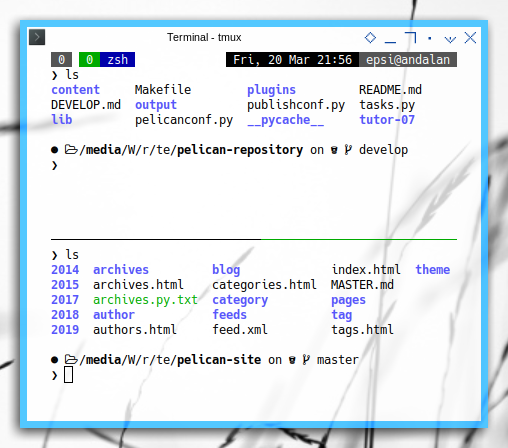 git worktree: Two Panes tmux, develop and master