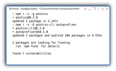 PostCSS: Autoprefixer: NPM Install