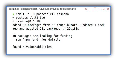 PostCSS: CSSnano: NPM Install