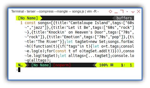 Terser: Example Result: Compressed Ecmascript