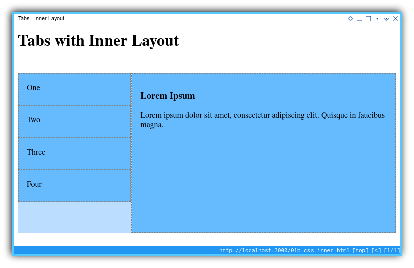 Tabs Component: Basic Layout: Tablet