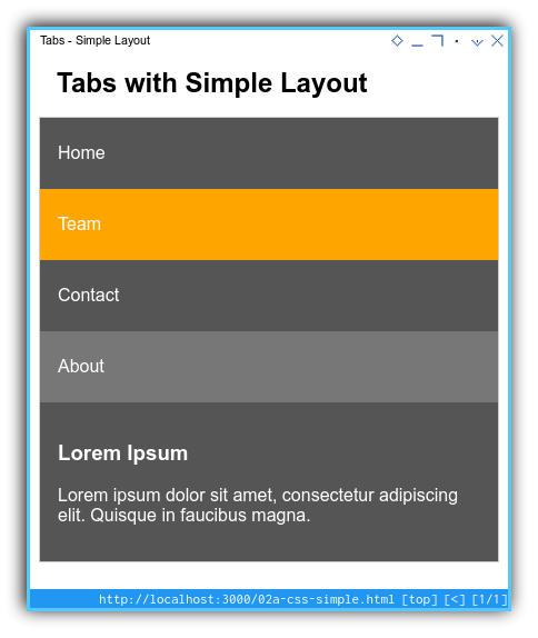 Tabs Component: Simple Layout: Mobile