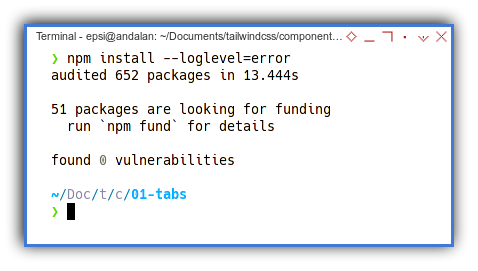 Tabs Component: Install Tailwind: package.json