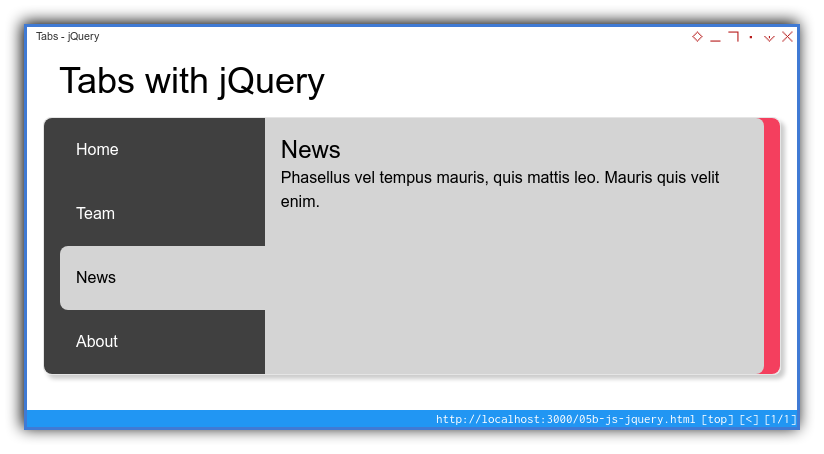Tabs Component: Enhanced Layout: jQuery: Hovered