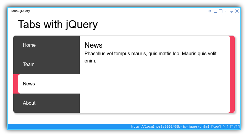 Tabs Component: Enhanced Layout: jQuery