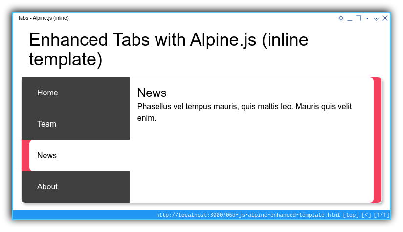 Tabs Component: Enhanced Template: Alpine: Tablet