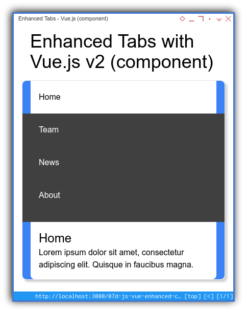 Tabs Component: Enhanced Template: Vue: Mobile