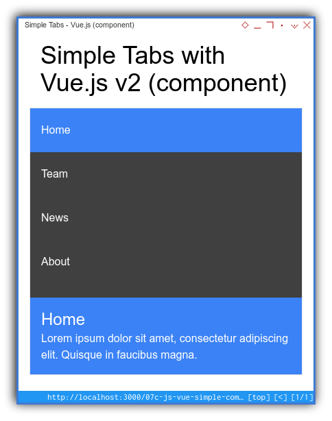 Tabs Component: Simple Template: Vue: Mobile