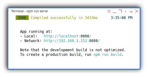 Vue2 App: CLI: npm run serve