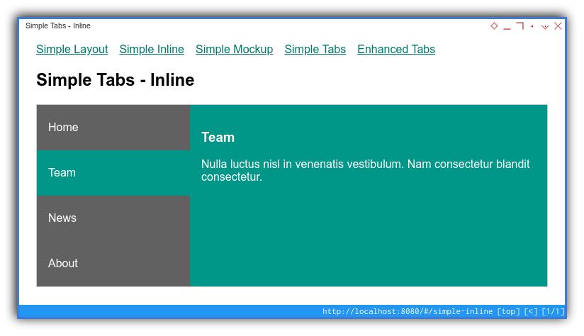 Vue App: Component Preview: Simple: Inline