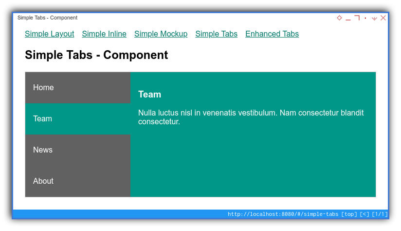 Vue App: Component Preview: Simple: Fully Working