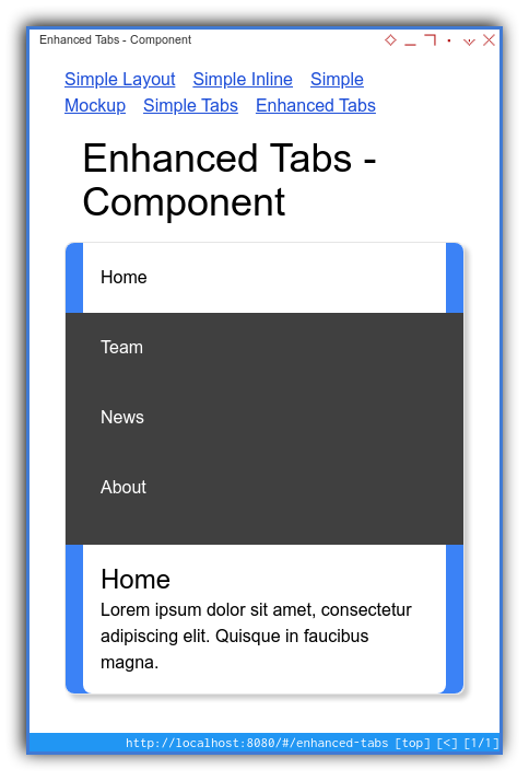 Vue App: Component Preview: Enhanced: Tailwind Mobile